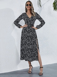 Women Surplice Front Belted Split Thigh Allover Print Dress