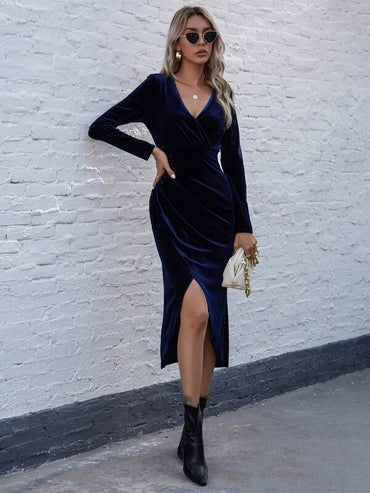 Women Surplice Neck Wrap Asymmetrical Hem Velvet Dress
