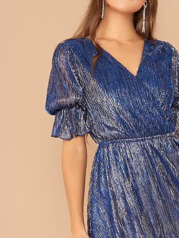 Women Surplice Neck Ruffle Cuff Glitter Mesh Overlay Dress