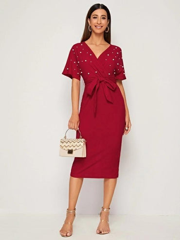 Women Surplice Wrap Belted Pearls Beaded Dress