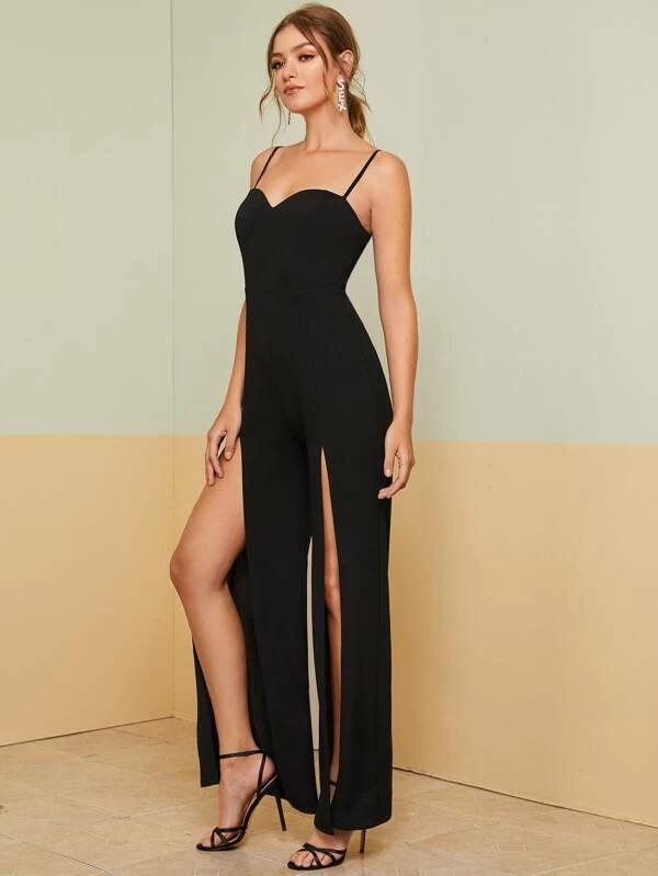 Women Sweetheart High Split Front Solid Cami Jumpsuit