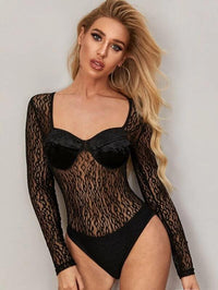 Women Sweetheart Neck Contrast Lace Bodysuit