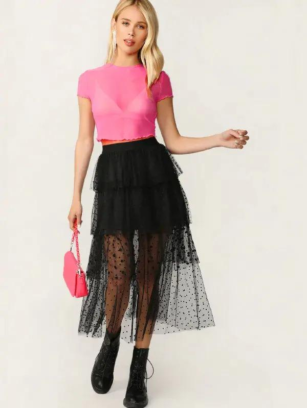 Women Swiss Dot Layered Mesh Skirt