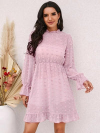 Women Swiss Dot Flounce Sleeve Ruffle Hem Dress