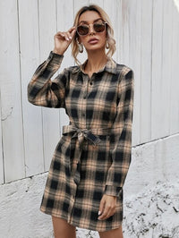 Women Tartan Pattern Belted Shirt Dress