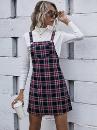 Women Tartan Pocket Front Overall Dress