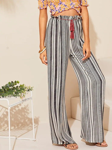 Women Tassel Belted Ruffle Trim Wide Leg Striped Pants