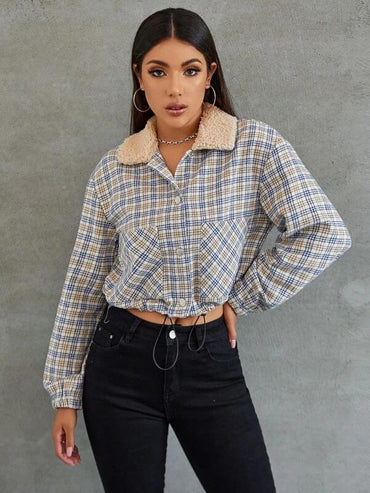 Women Teddy Collar Drawstring Hem Plaid Jacket