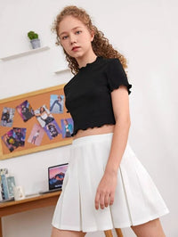 Girls Lettuce Trim Crop Tee & Pleated Hem Skirt Set