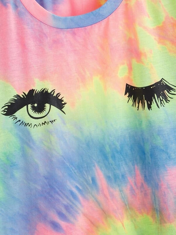Women Tie-Dye Wash Wink Eye Graphic T-Shirt Dress
