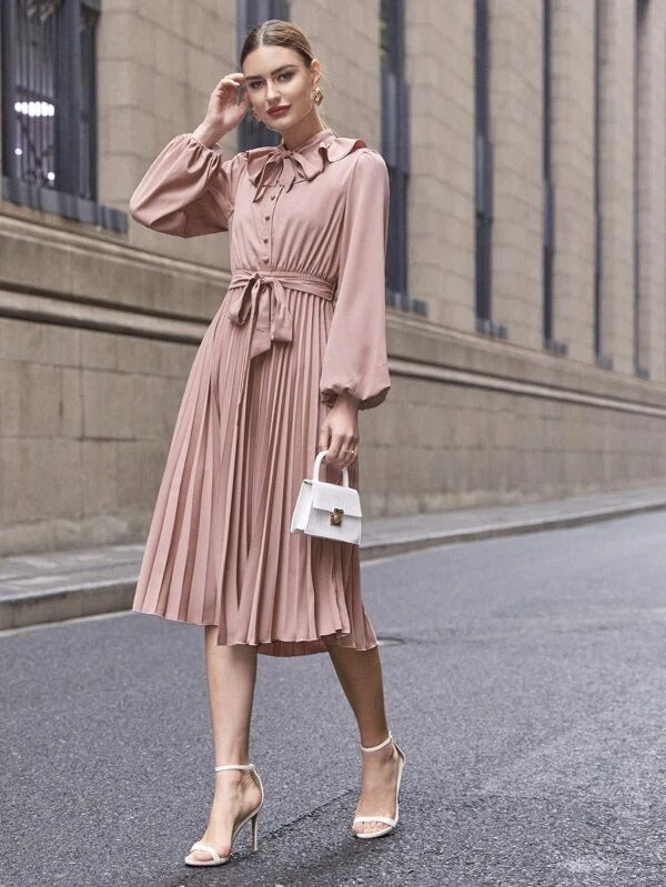 Women Tie Front Ruffle Trim Pleated Hem Belted Dress