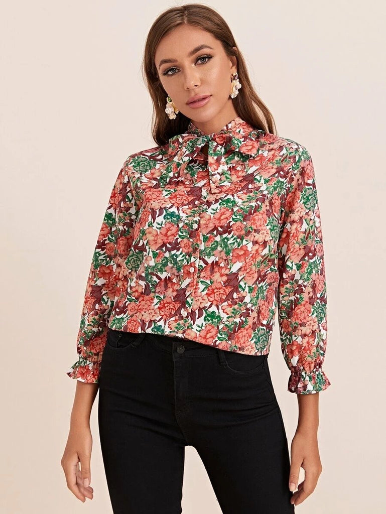 Women Tie Neck Floral Print Blouse