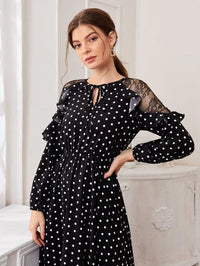 Women Tie Neck Lace Shoulder Ruffle Trim Polka Dot Dress