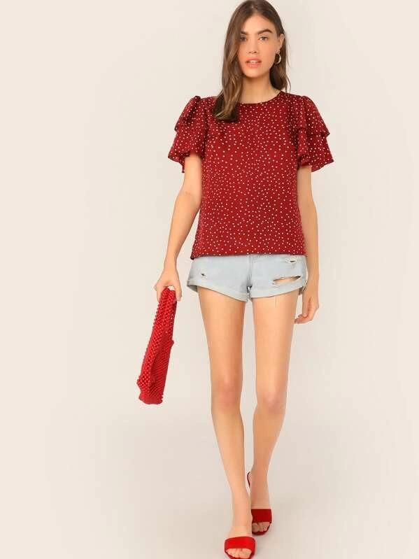 Women Tie Neck Layered Sleeve Dot Print Top