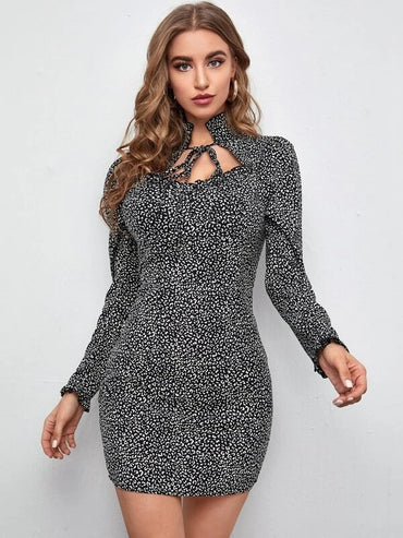 Women Tie Neck Leopard Dress