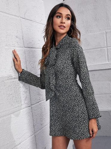Women Tie Neck Leopard Print Dress