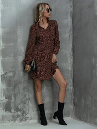 Women Tie Neck Polka Dot Tunic Dress