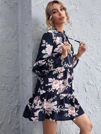 Women Tie Neck Ruffle Detail Floral Dress