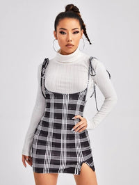 Women Tie Shoulder Split Hem Tartan Suspender Dress