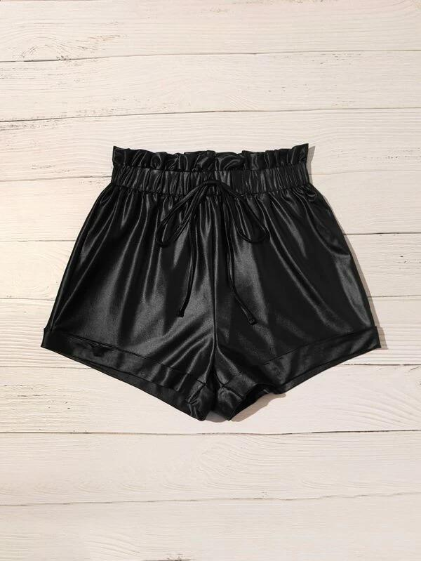 Women Tie Waist Frill Trim Roll Up Hem Leather Look Shorts