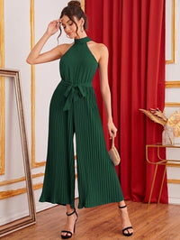 Women Tie Back Pleated Wide Leg Belted Halter Jumpsuit