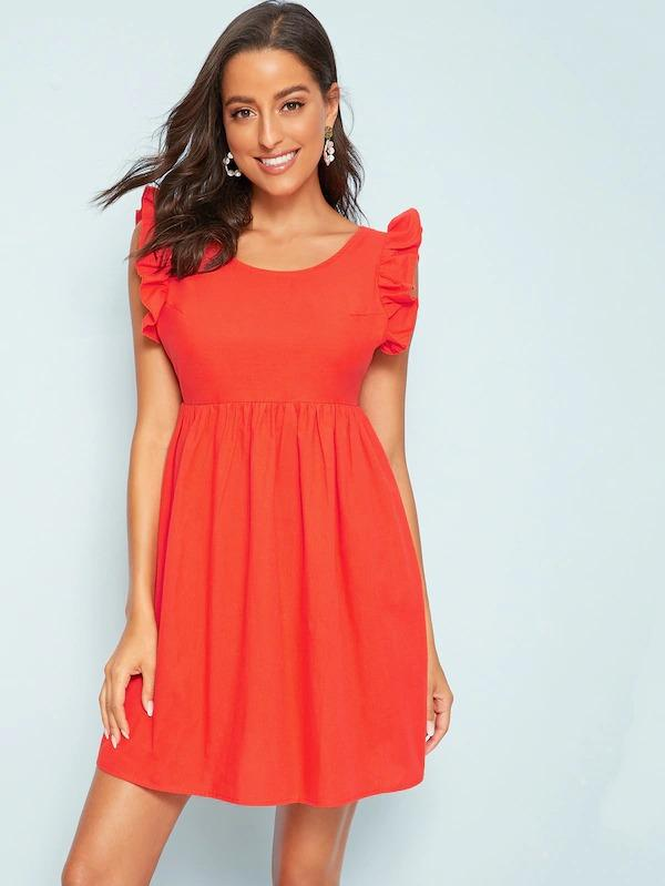 Women Tie Back Ruffle Sleeve Smock Dress