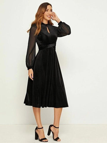 Women Tie Front Keyhole Detail Mesh Sleeve Dress
