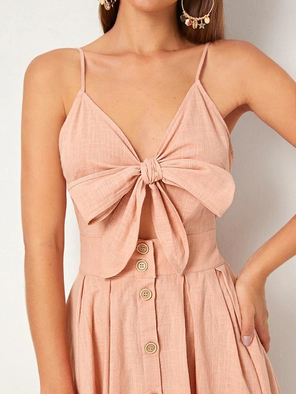 Women Tie Front Peekaboo Button Detail Cami Dress