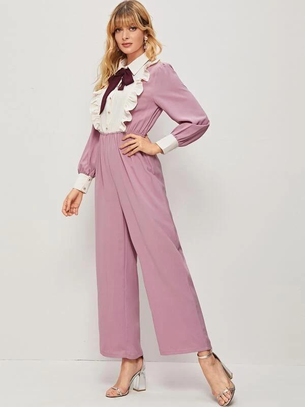 Women Tie Neck Ruffle Trim Colorblock Jumpsuit