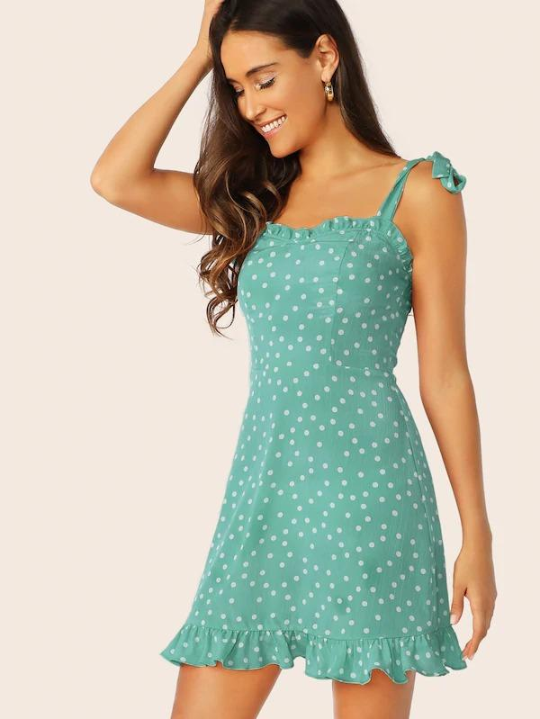 Women Tie Strap Shirred Back Polka Dot Dress