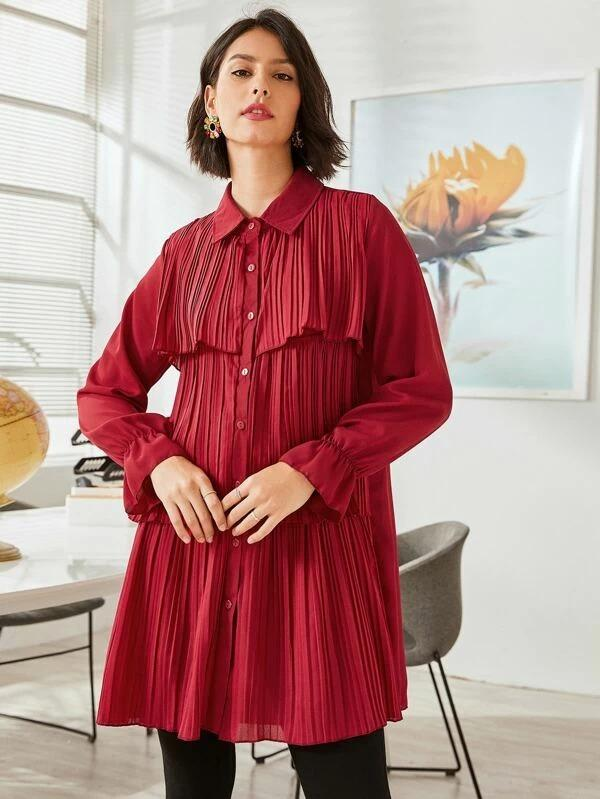 Women Tiered Layered Flounce Sleeve Pleated Blouse