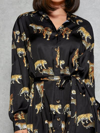 Women Tiger Print Drop Shoulder Self Belted Shirt Dress