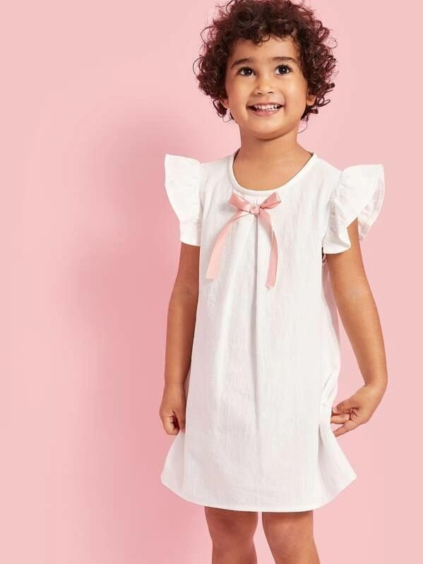 Toddle Girls Ruffle Armhole Bow Front Tunic Dress