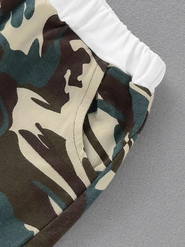 Toddler Boy Contrast Camo Raglan Sleeve Tee With Shorts