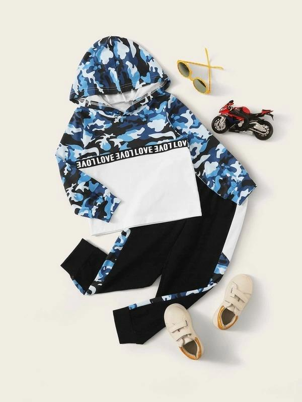 Toddler Boy Letter & Camo Print Hoodie With Sweatpants