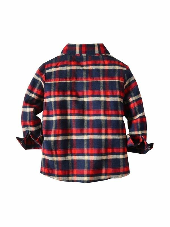 Toddler Boy Plaid Embossed Shirt