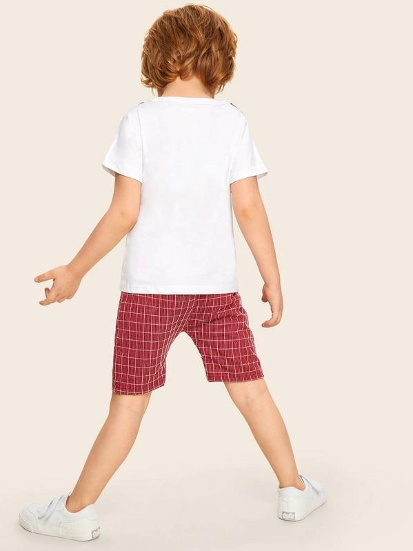Toddler Boys 2 In 1 Tee With Plaid Shorts