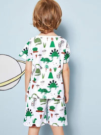 Toddler Boys Allover Cartoon Pajama Set