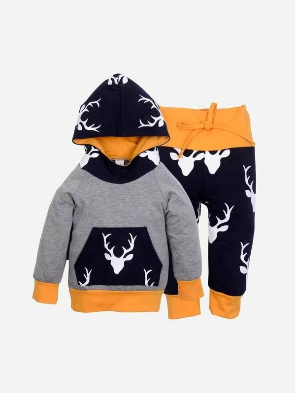 Toddler Boys Animal Print Hooded Top With Pants