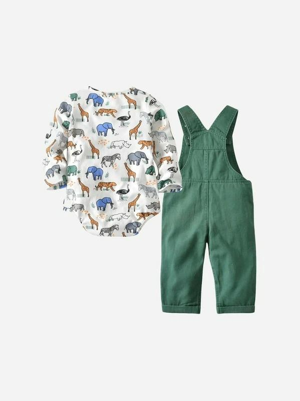 Toddler Boys Animal Print Jumpsuit With Overalls