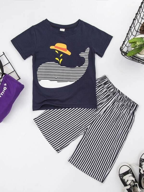 Toddler Boys Animal Print Tee & Shorts
