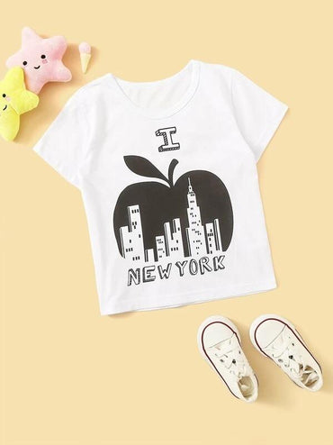Toddler Boys Apple And Letter Print Tee