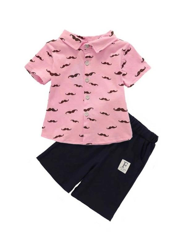 Toddler Boys Beard Print Shirt With Shorts