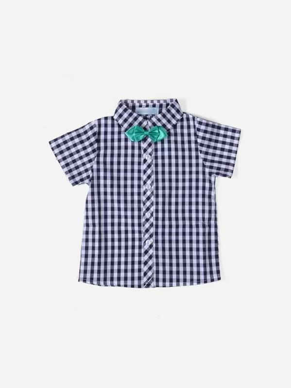 Toddler Boys Bow Detail Plaid Shirt With Shorts