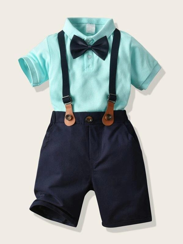Toddler Boys Bow Front Polo Shirt & Suspender Shorts