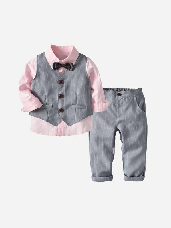 Toddler Boys Bow Front Shirt & Striped Pants & Vest