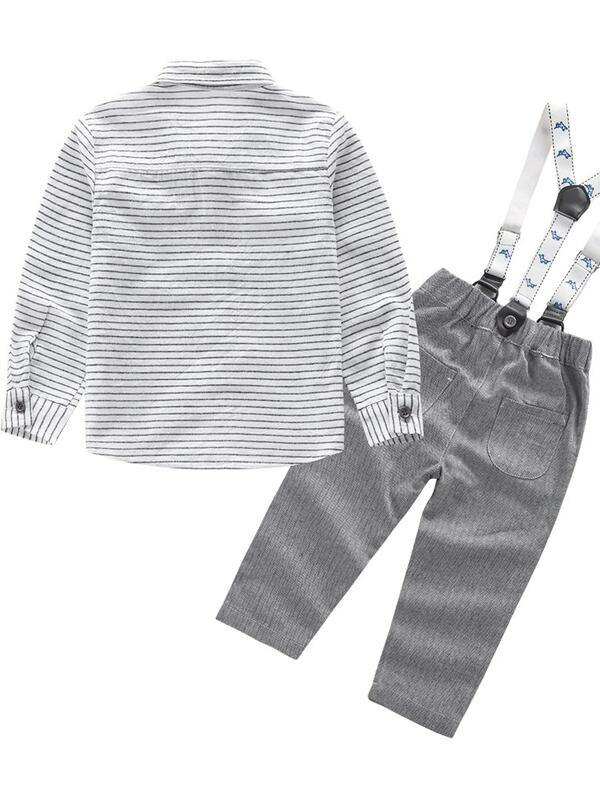 Toddler Boys Bow Front Striped Shirt With Pants
