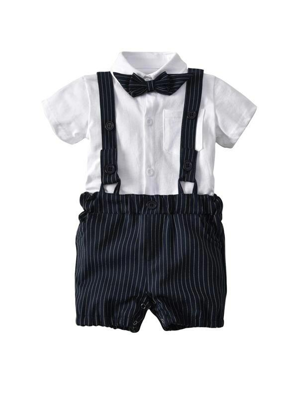 Toddler Boys Bow Front Top With Striped Shorts