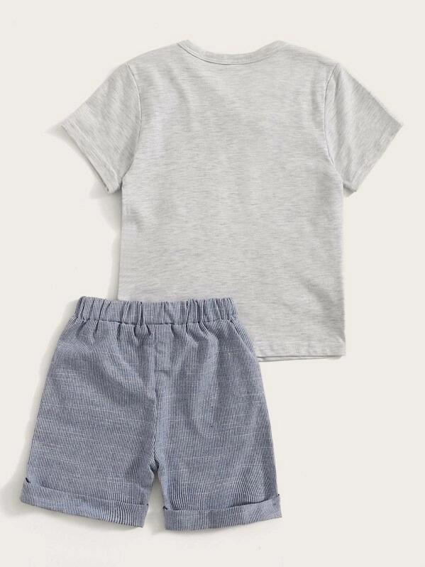 Toddler Boys Bow Neck 2 In 1 Top With Striped Shorts