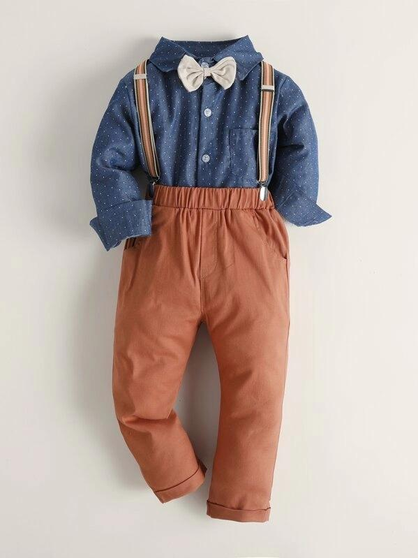 Toddler Boys Bow Neck Shirt & Pants Set